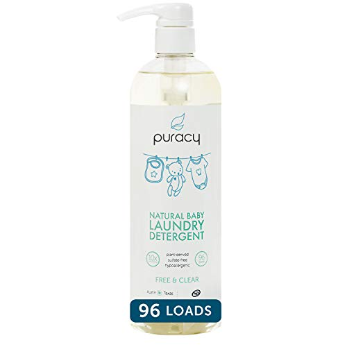 Puracy Natural Baby Liquid Laundry Detergent for Sensitive Skin, Free & Clear, 24 Fl. Oz (96 Loads)