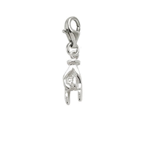 Good Luck Hand Symbol Charm (Rembrandt Charms Good Luck Hand Symbol Charm with Lobster Clasp, Sterling Silver)
