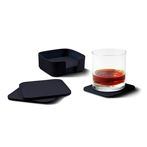 Lucrin - Set of 6 Square Genuine Leather Coasters with Coaster Holder - Navy Blue - Smooth Leather by Lucrin