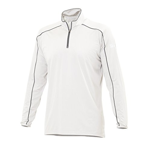 (SLAM Man Superyacht Collection Men's 135gr stretch '14 HALF ZIP SCOCK Long sleeve Col.100 soft and comfortable White/Grey Line t-shirt 2X-Large)