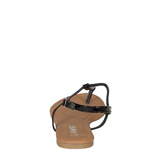 Anna Donna Open Toe T-strap Slingback Gladiatore Infradito Pantofole Piatte Sandalo Nero