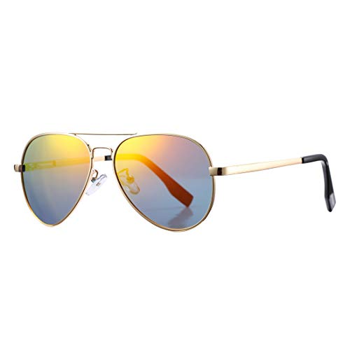 Polarized Aviator Sunglasses for Juniors Small Face Women Men Vintage UV400 Protection Shades(Gold Frame/Red Mirrored Lens)
