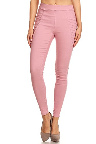 Jvini Women's High Waist Super Stretch Pull-On Moto Skinny Jeggings with Pockets (Small, Blush)