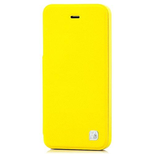 Hoco. Hochwertige Flip Case Tasche für Apple iPhone 5 & 5S stilvolle Slim Schutzhülle mit praktischer Standfunktion   seitlich klappbar   Farbe: gelb