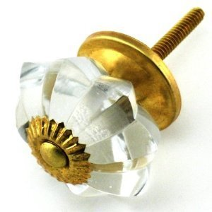 Clear Melon Glass Cabinet Knobs, Cupboard Drawer Pulls & Handles ~ K220M ~ Vintage Decor Clear Glass Melon Knobs with Polished Brass Hardware for Cabinets, Dresser, Kitchen Cabinets and Cupboards