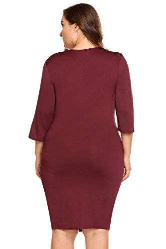 Wrap Sleeve 4 Red2 3 Womens Size Sexy V Party Involand Dark Bodycon Dress Neck Plus Midi Sqpn7