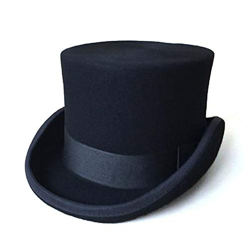 Patchwork Steampunk Victorian Formal Top Black Hat Wool Felt Vintage Magician Fedoras Mad Hatter President Bowler -