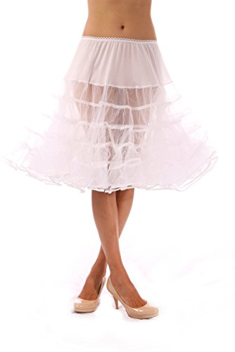 - Malco Modes Meghan Knee Length Net Crinoline for Stiff Structured Support Under Vintage Clothing and Rockabilly Wear White