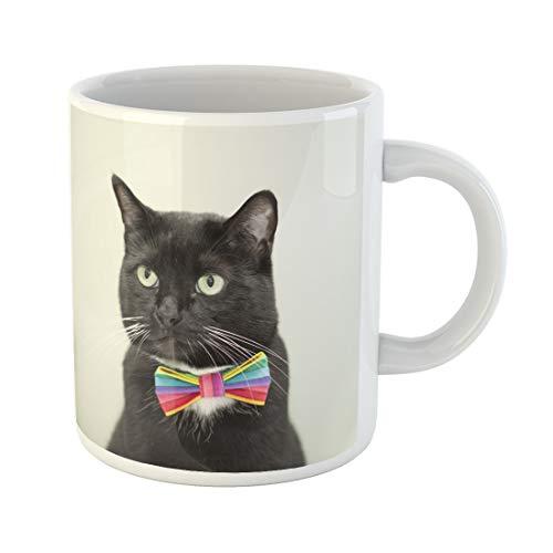 (Semtomn Funny Coffee Mug Black Tuxedo Cat Wearing Multi Colored Gay Pride Bow 11 Oz Ceramic Coffee Mugs Tea Cup Best Gift Or)