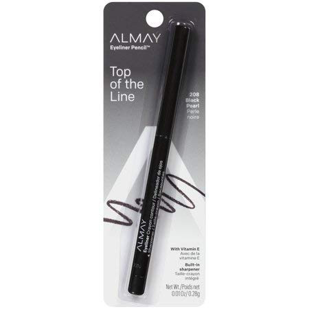 Almay Top of the Line Eyeliner Pencil, Black Pearl [208], 0.01 oz (Pack of 4)