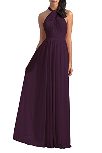 Women's Halter Pleated Chiffon Bridesmaid Dress Long Backless Formal Party Gown Size 16 Plum