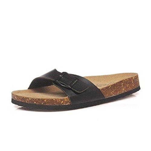 Cork Mixed Black Slipper Summer Red Flops Sandals ZHOUZJ Flip Casual Women Beach Color p05BqEP1n