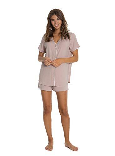 Barefoot Dreams Women's Luxe Milk Jersey Short Sleeve Piped PJ Top & Boxer Set, Sleepwear Set Faded -