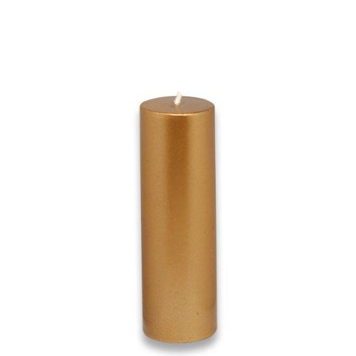 Gold Pillar - Zest Candle Pillar Candle, 2 by 6-Inch, Metallic Bronze Gold