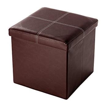 Brown Folding Storage Box - Contrast Stitch Design Faux Leather Foot Rest - 15  sc 1 st  Amazon.com & Amazon.com: Brown Folding Storage Box - Contrast Stitch Design Faux ...