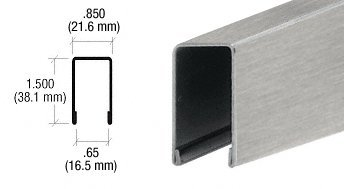CRL Brushed Stainless U-Channel for 1/2'' or 5/8'' Glass - 10 ft Long by C.R. Laurence (Image #1)