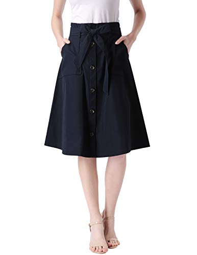 Womens Navy High Waist Flexible Girdle Party Vintage Skirt with Pocket 2 XL