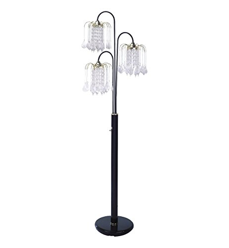Hongville HV FLAMP 6866BK Elegance 3 Arm Chandelier Crystal like Ornaments Shades Floor Lamp, Black (Cone Shade Lamp Floor)