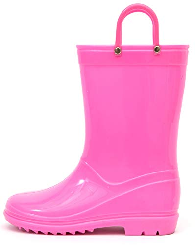 Outee Toddler Kids Rain Boots Solid Color with Handle (Red/Black/Blue/Purple/Pink)