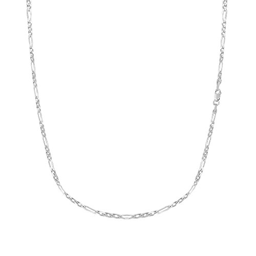 Ritastephens Sterling Silver Italian Figaro Link Chain Necklace 2.1 Mm 24 Inches