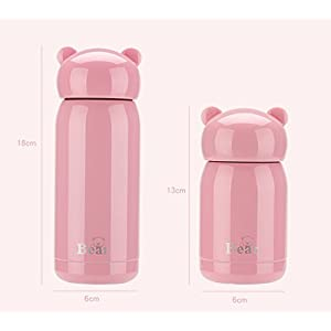 ZHNONE Portable Thermos Travel Mug Cute Design Vacuum Insulated Stainless Steel Thermos Water Bottle, Mini Size Coffee Thermos & Vacuum Flask-(Pink,5.5 ounce)