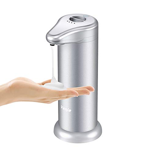 Vanja Automatic Foaming Soap Dispenser, Touch-Less Anti-Rust Electric Soap Dispenser with IR Sensor and 4 Adjustable Modes, Upgraded Version Waterproof Base for Bathroom and Kitchen (Silver)