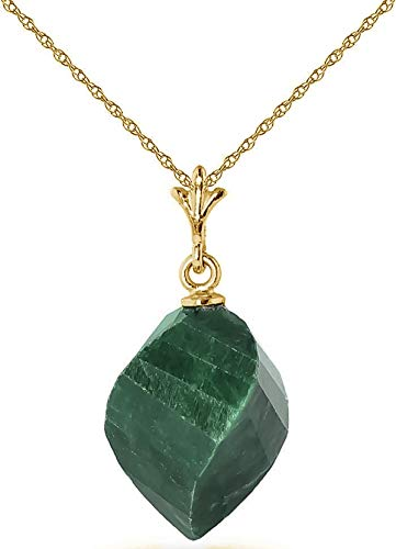Galaxy Gold High Polished 14K Solid White Gold Pendant Necklace with 15.25 Carat Twisted Briolette Natural Emerald