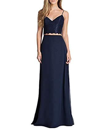 BOWITH Navy Blue V Neck 2 Piece Prom Dress Backless Summer Long Bridesmaid Dresses