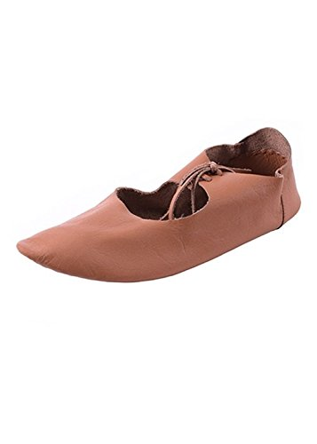 leather Ristschnürung shoes flat Brown Medieval Viking wendegenäHt Medieval Painted qvtEA