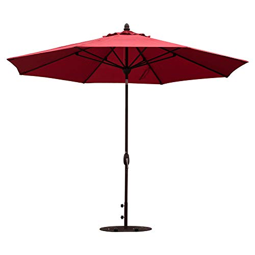 SORARA Patio Umbrella 11 Feet Outdoor Table Market Umbrella with Push Button Tilt&Crank&Umbrella Cover, 8 Ribs, Jockey red