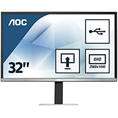AOC q3277Pqu 32  Widescreen AMVA LED Black Silver Multimedia Monitor  2560x1440 4ms VGA DVI-D HDMI DP