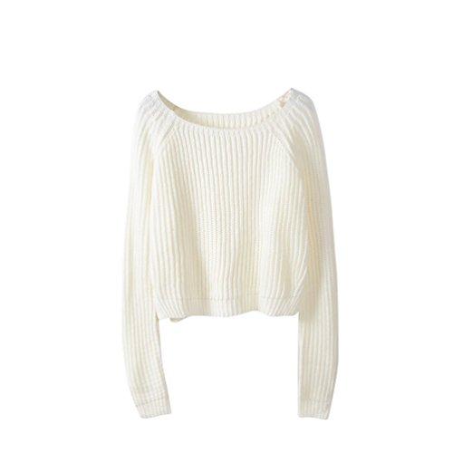 WanYang Mujer Sudaderas Otono Invierno Ocasional Blusa Sueter De Punto Pullover Blanco