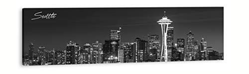 DJSYLIFE- Skyline Wall Art,Canvas Wall Art,Black and White Panoramic Seattle Cityscape Picture Wall Decoration Paintings for Bedroom or Office Decor, Ready to Hang 13.8