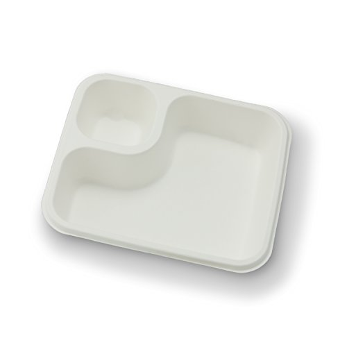 Stalkmarket 100% compostable sugar cane fiber nacho tray, 2-compartment, 600-count case