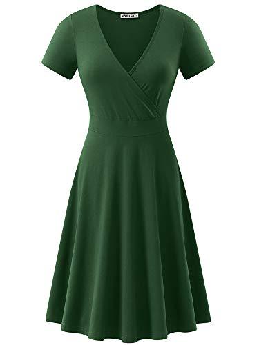 MSBASIC Women's Deep V Neck Short Sleeve Unique Cross Wrap Casual Flared Midi Dress Dark Green