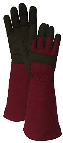 Comfort Pro Synthetic Leather Gauntlet Gardening Gloves, Burgundy/Green, X-Large]()