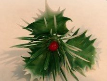 Holly Leaf with Berry Christmas Cupcake Pick Cake Topper (Holly Cake)