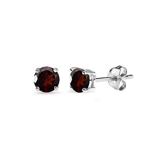 - Sterling Silver Garnet 4mm Round-Cut Solitaire Stud Earrings