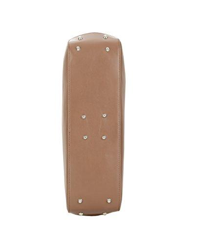 WALTER VALENTINO echte italienische Kalbs Leder Schultertasche, Henkeltasche ca. 38x28x10 cm (BxHxT), 4952 Farbe: Dunkelbraun