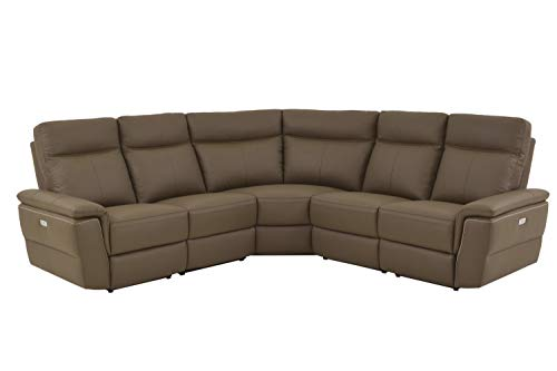 (Obara 5PC Power Sectional with Non Power Armless Recliner - in Top Grain Leather - Brown Taupe- ConfigC )