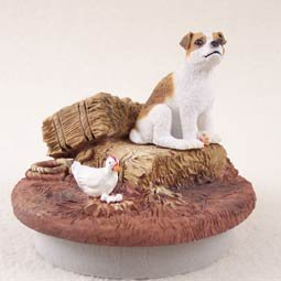 Conversation Concepts Miniature Jack Russell Terrier Brown & White w/Smooth Coat Candle Topper Tiny One ''A Day on the Farm''