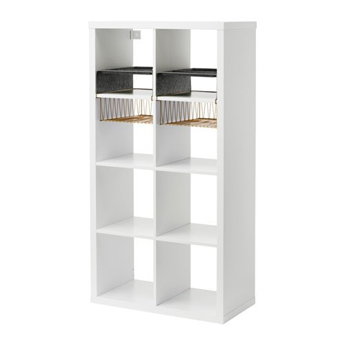 Ikea Shelf unit with 4 inserts, white