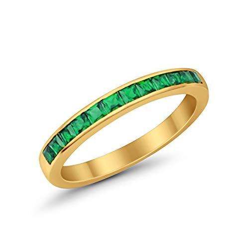 Half Eternity Band Ring Princess Cut Green Simulated Emerald CZ Yellow Tone 925 Plated Sterling Silver