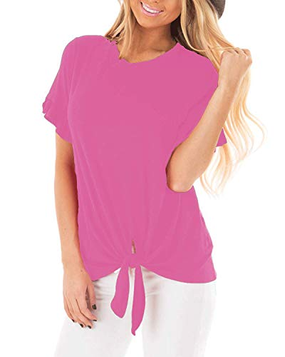 (Pneacimi Tie Front Short Sleeve Casual Loose Shirt Tops for Women (Pink Shirt, S) )