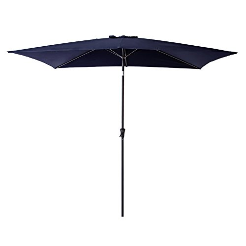 FLAME&SHADE Rectangle Market Outdoor Patio Umbrella 6.5 foot x 10 foot Parasol with Crank Lift, Push Button Tilt, Navy Blue