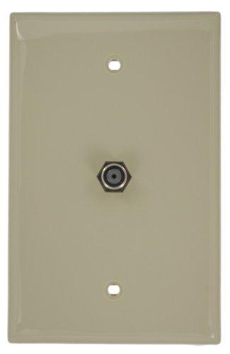 - Leviton 40539-MI Midsize Video Wall Jack, F Connector, Ivory