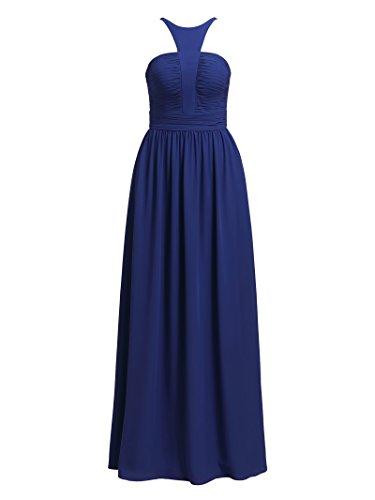Alicepub Mousseline De Soie Plissée Robe Maxi Longue Formelle Bretelles Robe De Soirée De Fête De Mariage De Bleu Royal