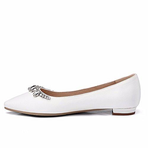 HXVU56546 Primavera Y Otoño Zapatos De Mujer Zapatos De Cristal De Agua Único Taladro Seda Con Zapatos Grandes Zapatos De Novia Código white