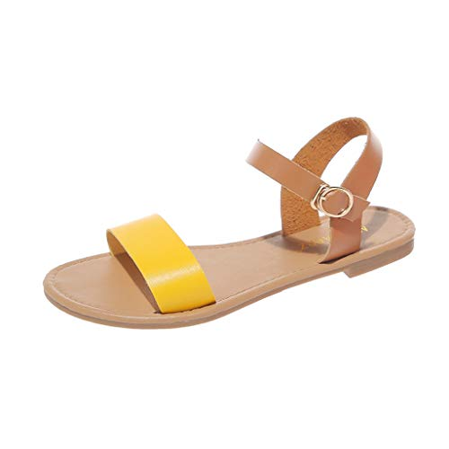 Toimothcn Summer Beach Sandals Women's Buckle Ankle Strap Roma Shoes Casual Peep Toe Flat Sandals (Yellow,US:6)