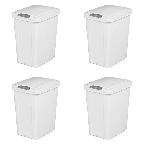 Sterilite 10438004 7.5 Gallon TouchTop Wastebasket, White w/ Titanium Latch, 4-Pack ()